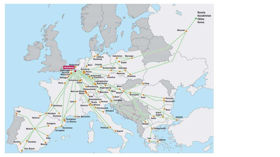 Map: International rail connections