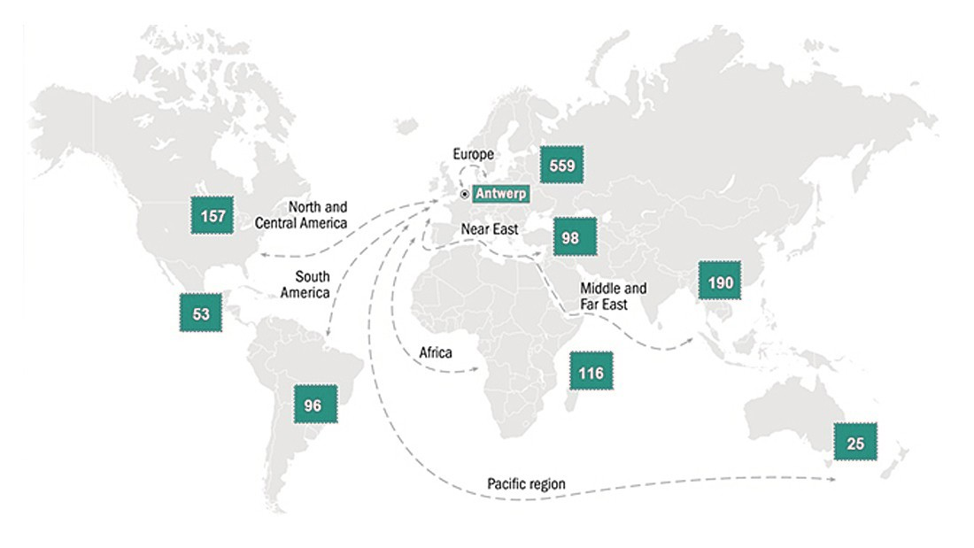 Map: Direct connections with 1300 ports worldwide